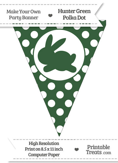 Hunter Green Polka Dot Pennant Flag with Bunny Facing Left from PrintableTreats.com