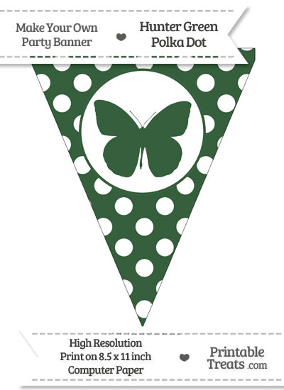 Hunter Green Polka Dot Pennant Flag with Butterfly from PrintableTreats.com