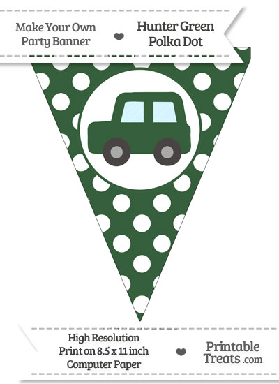 Hunter Green Polka Dot Pennant Flag with Car Facing Left from PrintableTreats.com