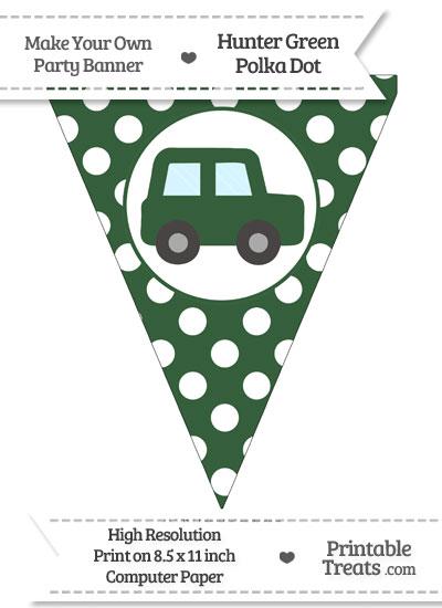 Hunter Green Polka Dot Pennant Flag with Car Facing Right from PrintableTreats.com