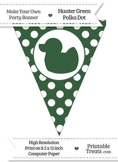 Hunter Green Polka Dot Pennant Flag with Duck Facing Left from PrintableTreats.com