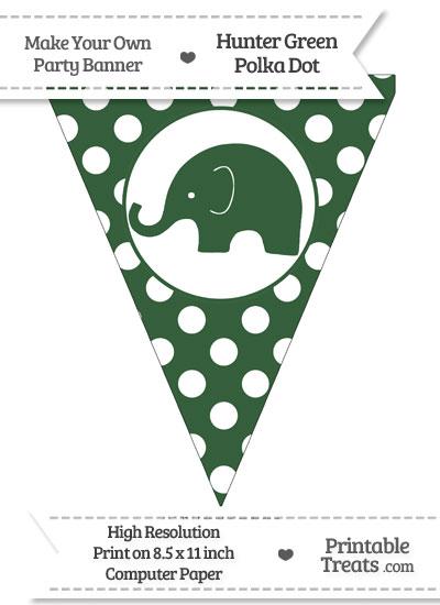 Hunter Green Polka Dot Pennant Flag with Elephant Facing Left from PrintableTreats.com
