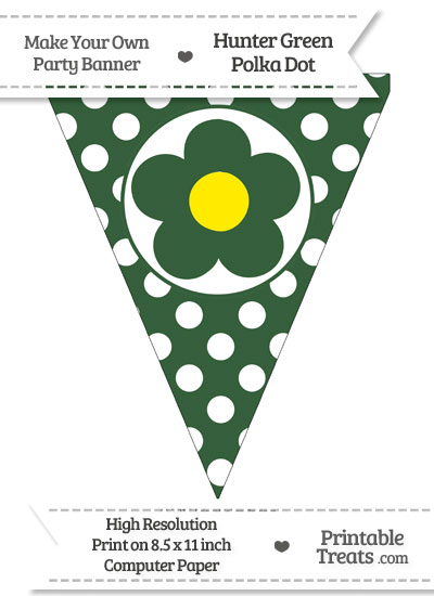 Hunter Green Polka Dot Pennant Flag with Flower from PrintableTreats.com
