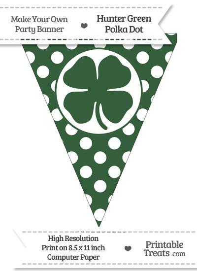 Hunter Green Polka Dot Pennant Flag with Four Leaf Clover Facing Left from PrintableTreats.com