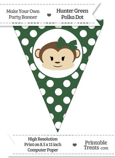 Hunter Green Polka Dot Pennant Flag with Girl Monkey from PrintableTreats.com