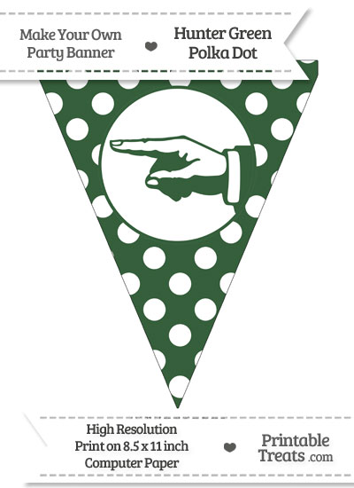 Hunter Green Polka Dot Pennant Flag with Hand Pointing Left from PrintableTreats.com