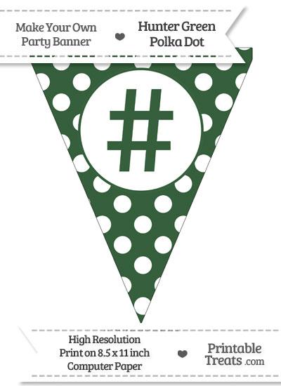 Hunter Green Polka Dot Pennant Flag with Hash Character from PrintableTreats.com