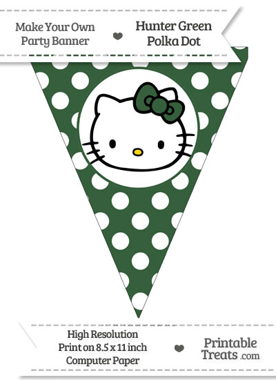 Hunter Green Polka Dot Pennant Flag with Hello Kitty from PrintableTreats.com