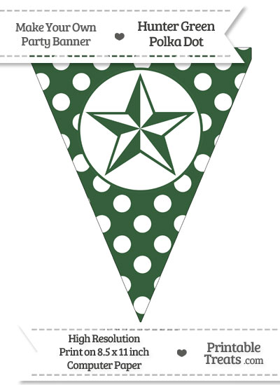 Hunter Green Polka Dot Pennant Flag with Nautical Star from PrintableTreats.com