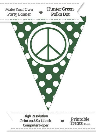 Hunter Green Polka Dot Pennant Flag with Peace Sign from PrintableTreats.com
