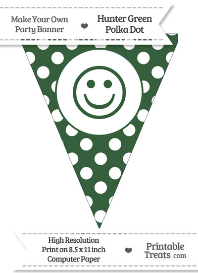 Hunter Green Polka Dot Pennant Flag with Smiley Face from PrintableTreats.com