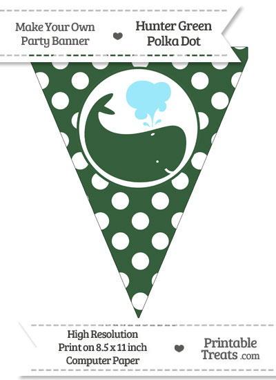 Hunter Green Polka Dot Pennant Flag with Whale Facing Right from PrintableTreats.com
