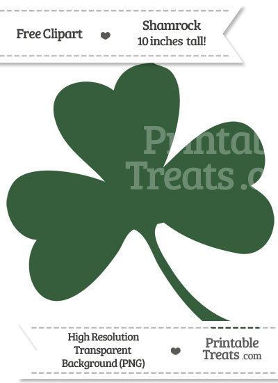 Hunter Green Shamrock Clipart from PrintableTreats.com