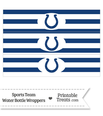 Indianapolis Colts Water Bottle Wrappers from PrintableTreats.com