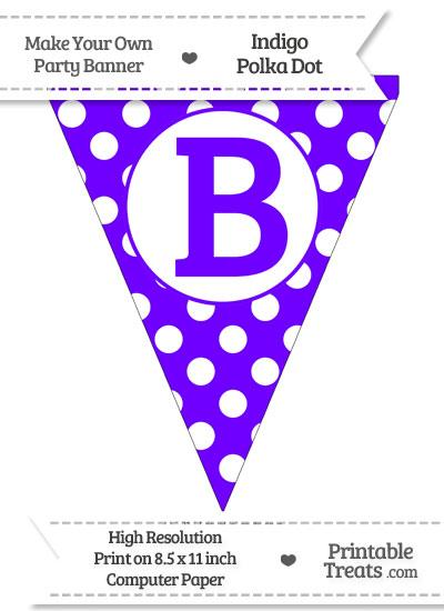 Indigo Polka Dot Pennant Flag Capital Letter B from PrintableTreats.com