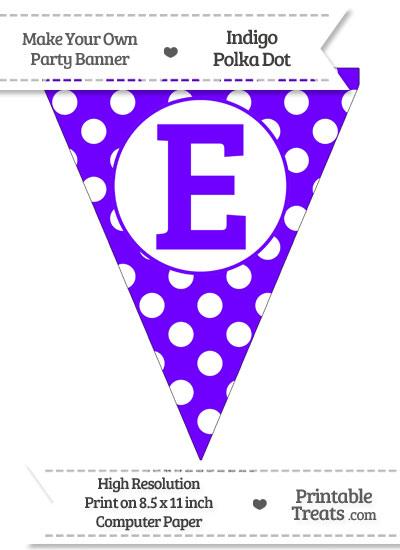 Indigo Polka Dot Pennant Flag Capital Letter E from PrintableTreats.com
