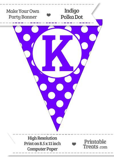 Indigo Polka Dot Pennant Flag Capital Letter K from PrintableTreats.com