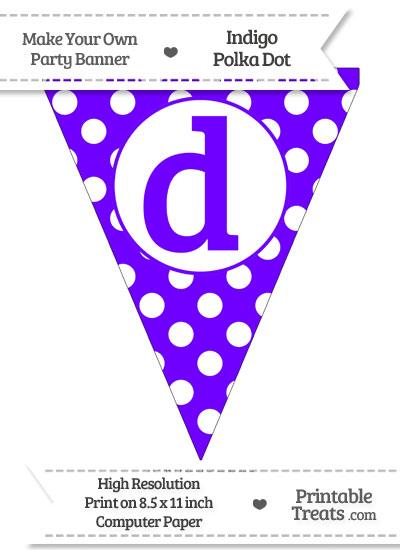 Indigo Polka Dot Pennant Flag Lowercase Letter D from PrintableTreats.com