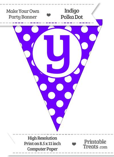 Indigo Polka Dot Pennant Flag Lowercase Letter Y from PrintableTreats.com
