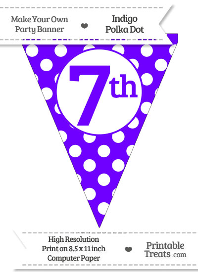 Indigo Polka Dot Pennant Flag Ordinal Number 7th from PrintableTreats.com