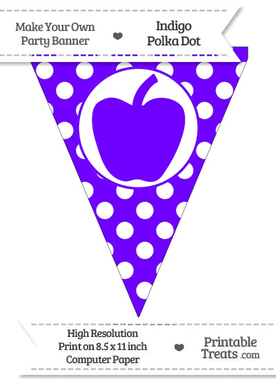 Indigo Polka Dot Pennant Flag with Apple from PrintableTreats.com