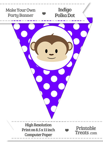 Indigo Polka Dot Pennant Flag with Boy Monkey from PrintableTreats.com