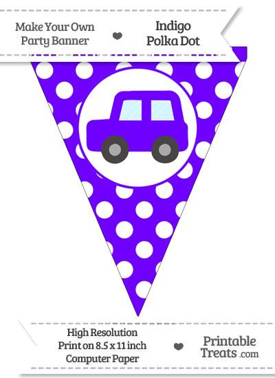 Indigo Polka Dot Pennant Flag with Car Facing Left from PrintableTreats.com