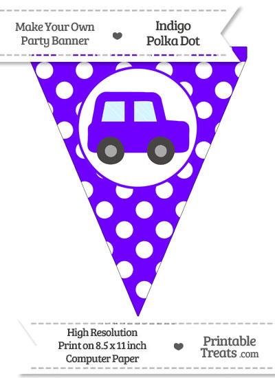 Indigo Polka Dot Pennant Flag with Car Facing Right from PrintableTreats.com