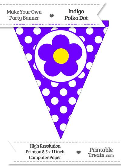 Indigo Polka Dot Pennant Flag with Flower from PrintableTreats.com