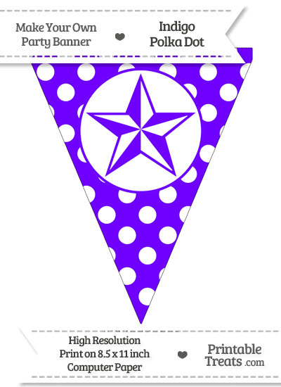 Indigo Polka Dot Pennant Flag with Nautical Star from PrintableTreats.com
