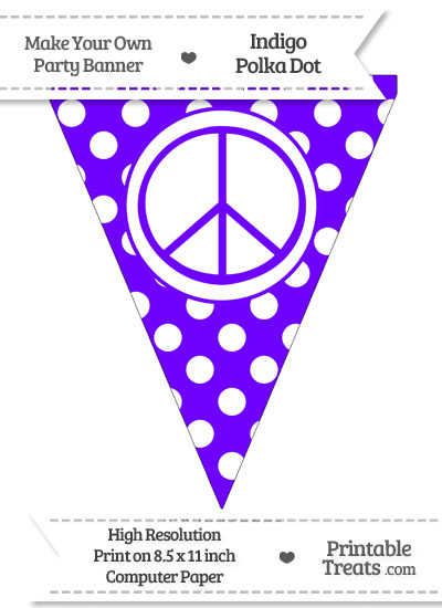 Indigo Polka Dot Pennant Flag with Peace Sign from PrintableTreats.com