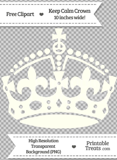 Ivory Keep Calm Crown Clipart from PrintableTreats.com