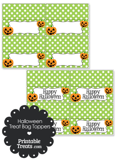 Jack o Lantern Treat Bag Toppers from PrintableTreats.com