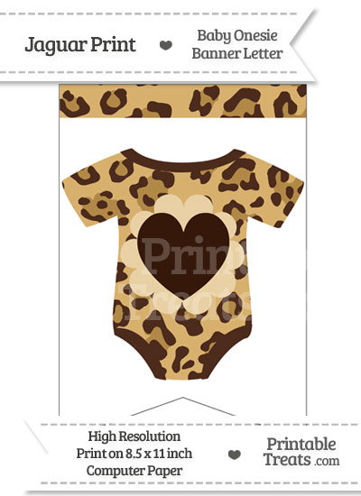 Jaguar Print Baby Onesie Bunting Banner Heart End Flag from PrintableTreats.com
