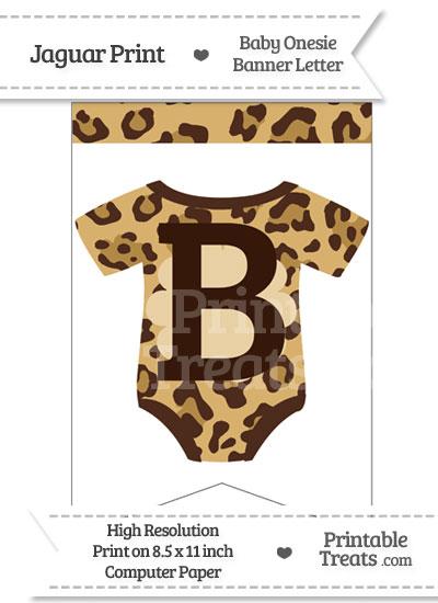 Jaguar Print Baby Onesie Bunting Banner Letter B from PrintableTreats.com