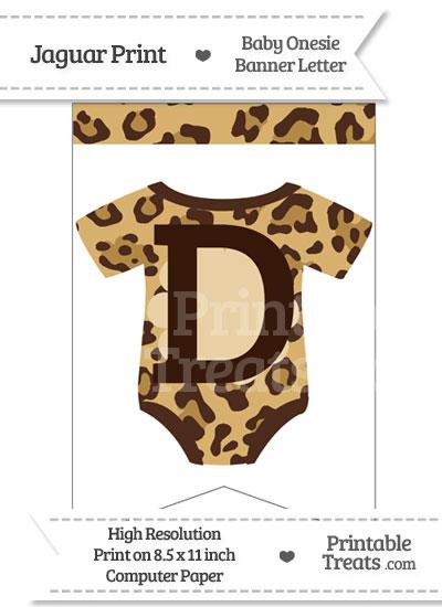 Jaguar Print Baby Onesie Bunting Banner Letter D from PrintableTreats.com