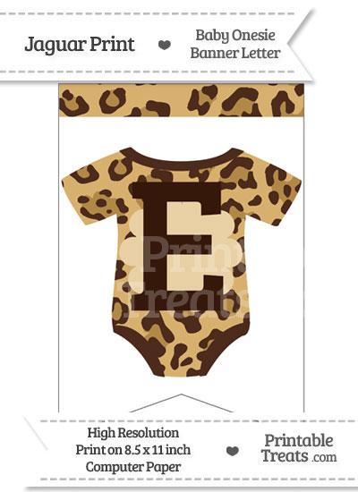 Jaguar Print Baby Onesie Bunting Banner Letter E from PrintableTreats.com
