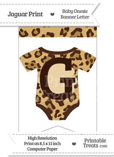 Jaguar Print Baby Onesie Bunting Banner Letter G from PrintableTreats.com