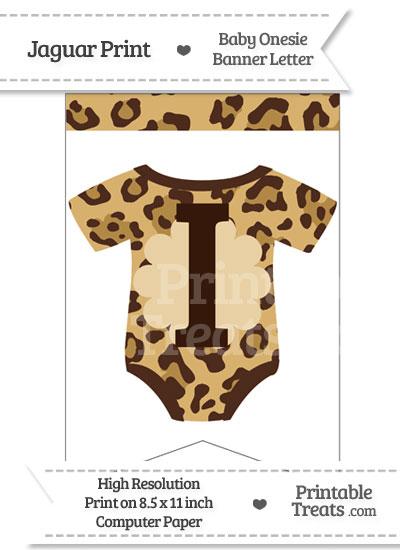 Jaguar Print Baby Onesie Bunting Banner Letter I from PrintableTreats.com