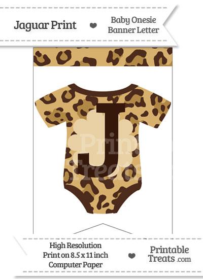 Jaguar Print Baby Onesie Bunting Banner Letter J from PrintableTreats.com