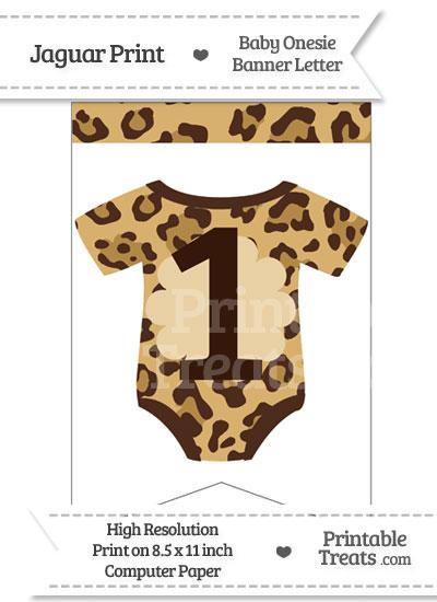 Jaguar Print Baby Onesie Bunting Banner Number 1 from PrintableTreats.com