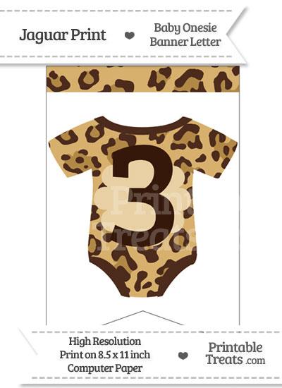 Jaguar Print Baby Onesie Bunting Banner Number 3 from PrintableTreats.com