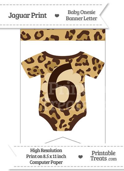 Jaguar Print Baby Onesie Bunting Banner Number 6 from PrintableTreats.com