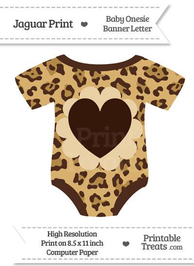 Jaguar Print Baby Onesie Shaped Banner Heart End Flag from PrintableTreats.com