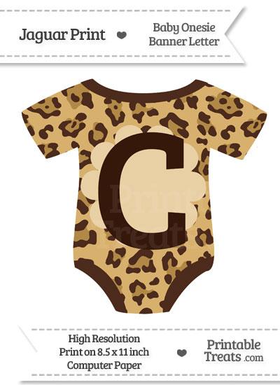 Jaguar Print Baby Onesie Shaped Banner Letter C from PrintableTreats.com