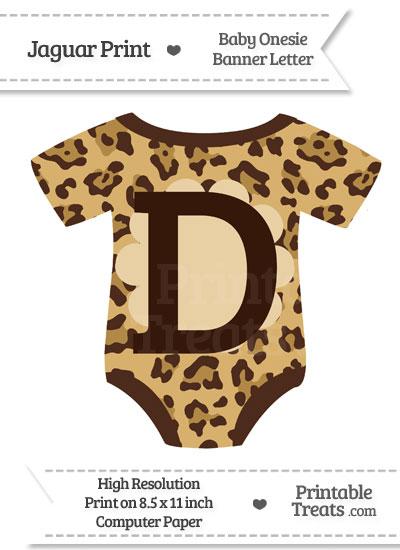 Jaguar Print Baby Onesie Shaped Banner Letter D from PrintableTreats.com