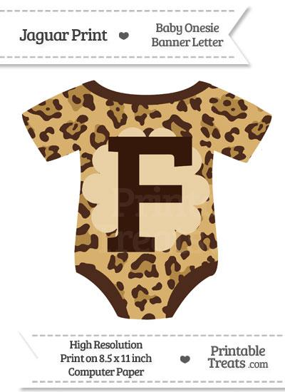 Jaguar Print Baby Onesie Shaped Banner Letter F from PrintableTreats.com