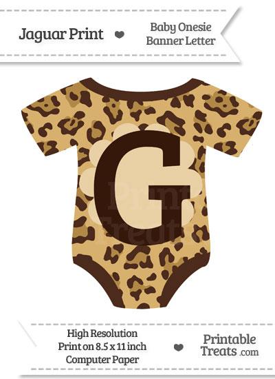 Jaguar Print Baby Onesie Shaped Banner Letter G from PrintableTreats.com