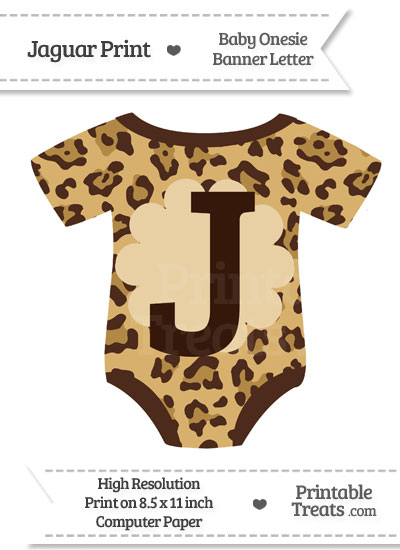 Jaguar Print Baby Onesie Shaped Banner Letter J from PrintableTreats.com