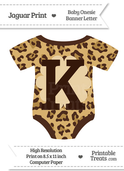 Jaguar Print Baby Onesie Shaped Banner Letter K from PrintableTreats.com